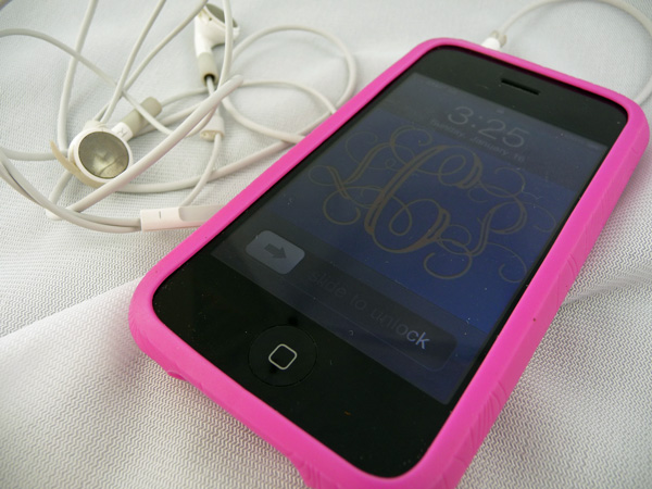 iPhone with monogram