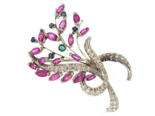Vintage ruby, emerald, and sapphire pin from Beladora