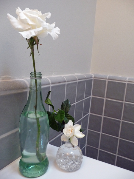 A rose and a gardenia in my guest bathroom