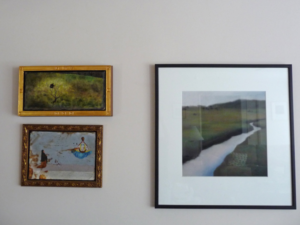 Art grouping on living room wall