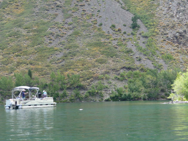 "Taking out a ""party pontoon"" at Convict Lake."