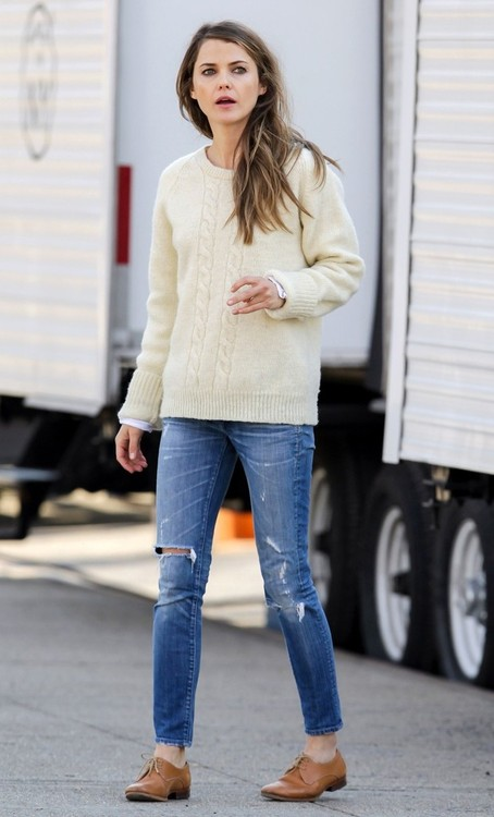 Keri Russell in Fisherman's Sweater