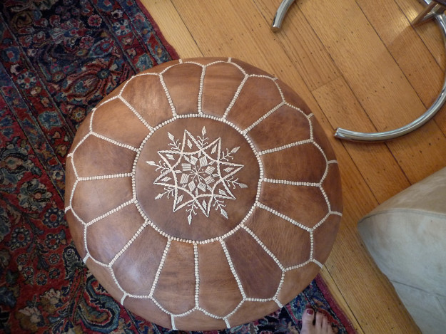 Moroccan Pouf on Persian Carpet