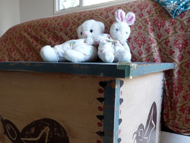 Folk-Art-Chest-and-Stuffed-Animals
