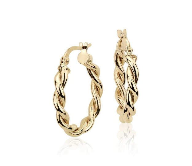 Twisted 14K gold hoops from Blue Nile