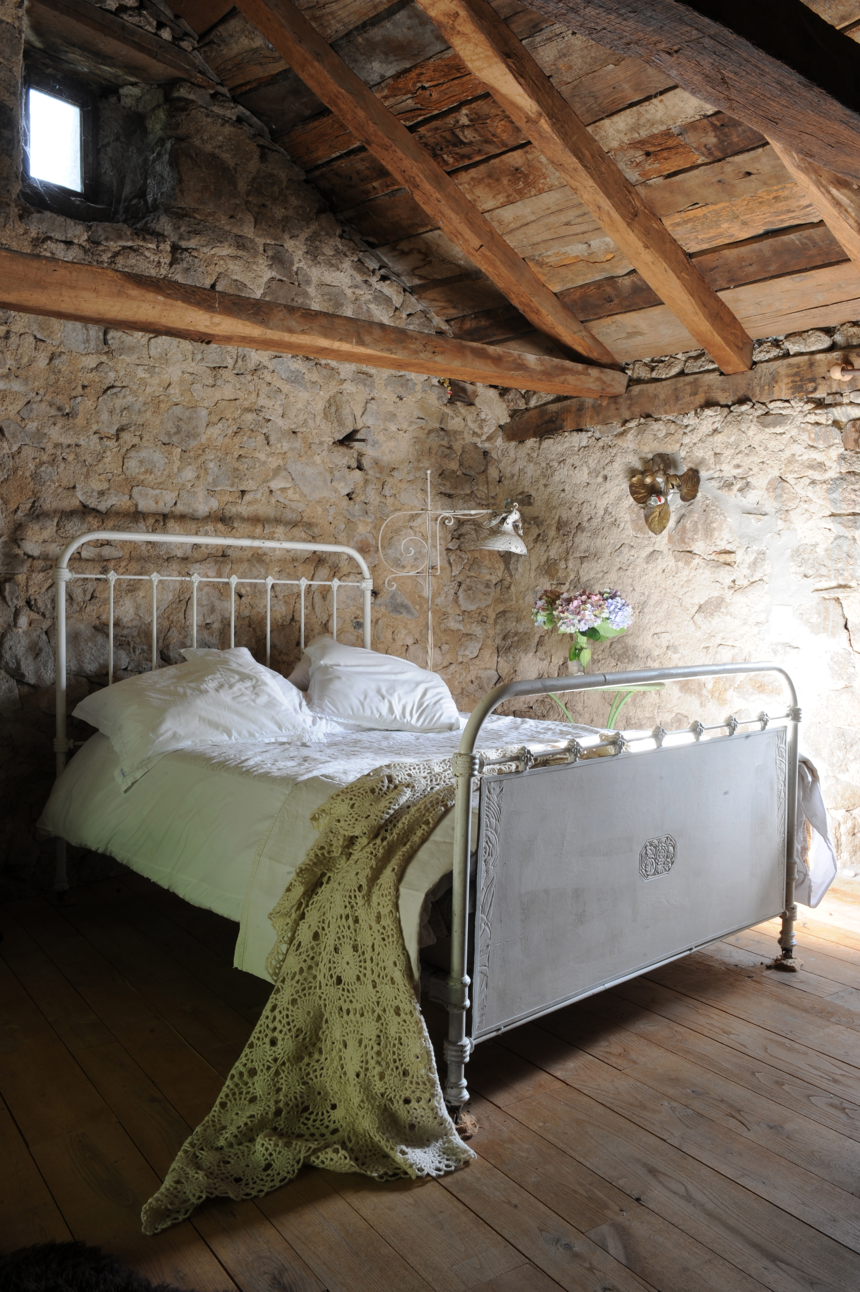 A bed in a French farmhouse