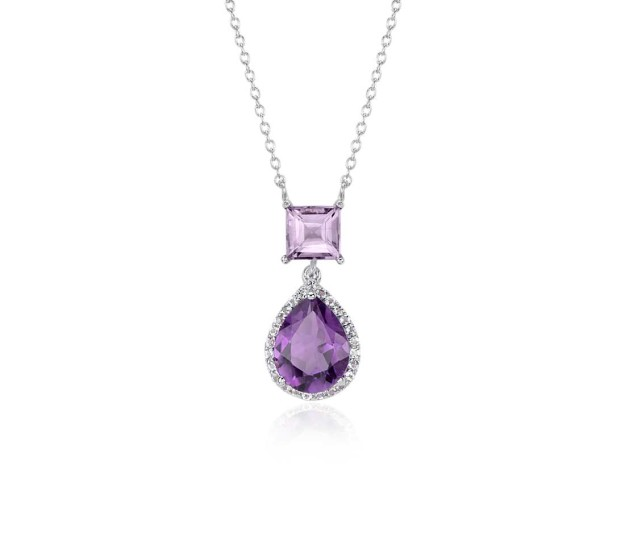 Silver amethyst and topaz necklace