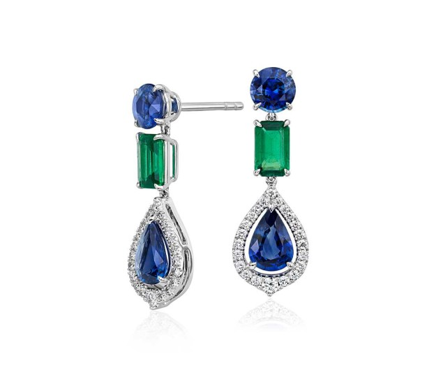 Emerald & Sapphire Earrings at Blue Nile