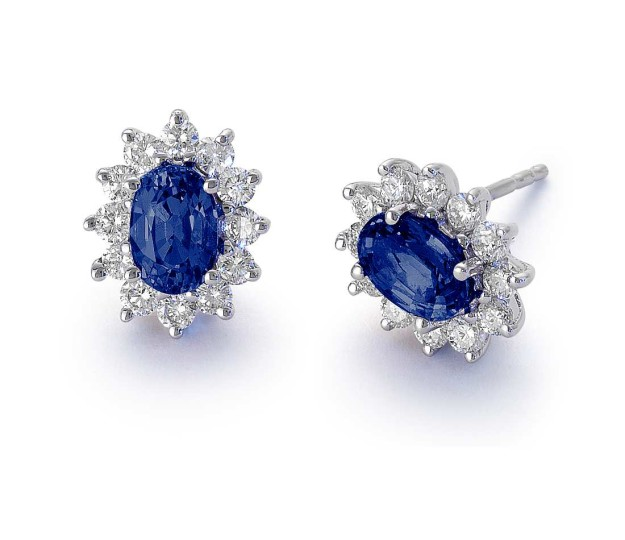 Oval Sapphire and Diamond Studs From Blue Nile