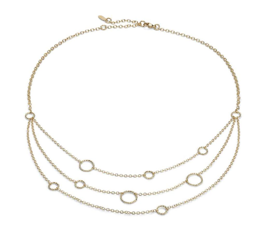 3 Strand Gold Chain With Circle Stations