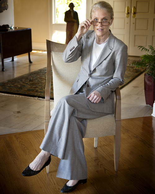 Luciano Barbera Suit, Manolo Ballet Flats, Pearls