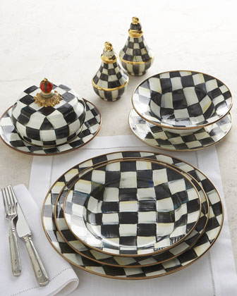 Enamelware In Black And White Checks From Mackenzie Childs You Re Looking For A Pattern That Starts At Makes An Impact But Bows Out Before Isn T